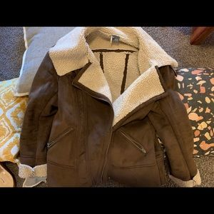 Faux suede and shearling lined coat